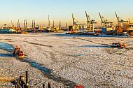 Zwei Hafenfähren im Eis in Hamburg