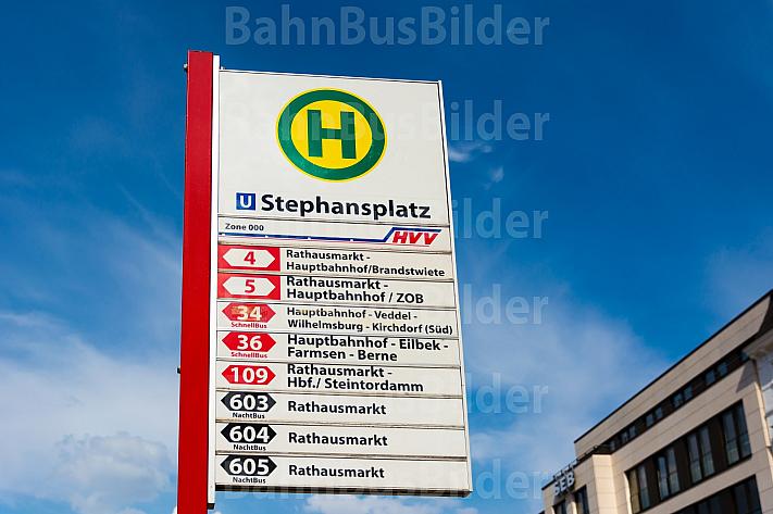 Haltestellenschild am Stephansplatz in Hamburg