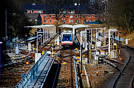 U-Bahn in Abstellanlage am Bahnhof Hagenbecks Tierpark