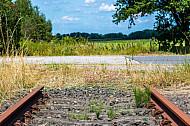 Stillgelegte Bahnstrecke nach Kellinghusen im Bahnhof Wrist in Schleswig-Holstein