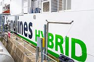 Scandlines-Hybridfähre im dänischen Hafen Rödby (Vogelfluglinie).