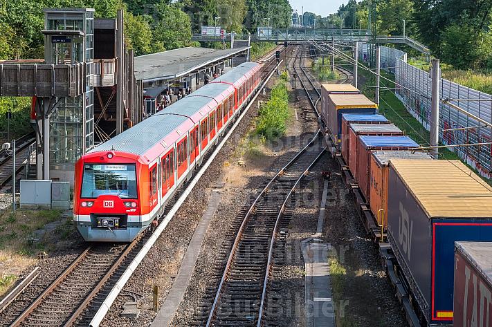 Eine Hamburger S-Bahn und ein Güterzug (Güterumgehungsbahn) treffen sich an der Haltestelle Rübenkamp