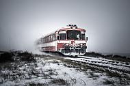 Lemvigbanen-Triebwagen im Schnee bei Rønland