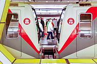U-Bahnen im Bahnhof Jungfernstieg in Hamburg