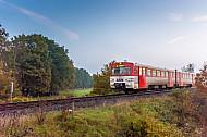 Ein Diesel-Triebwagen der AKN vom Typ VTE auf der Linie A3 bei Sparrieshoop in Schleswig-Holstein