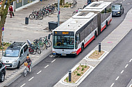Ein Bus folgt einem Fahrradfahrer auf einem Schutzstreifen in der Osterstraße in Hamburg