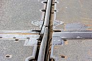 Bahngleis auf Verladerampe im dänischen Fährbahnhof Rödby (Vogelfluglinie).