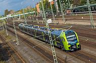 Elektrotriebwagen vom Typ FLIRT der Nordbahn in Hamburg-Wilhelmsburg