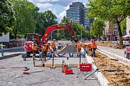 Bauarbeiten zur Busbeschleunigung in Hamburg