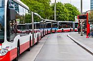Vier Hochbahn-Busse stehen als Pulk in der Bushaltestelle am Bahnhof Dammtor in Hamburg
