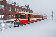 Lemvigbanen-Triebwagen im Schnee in Lemvig