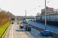 Bauarbeiten und Vollsperrung auf der A7 in Hamburg-Stellingen