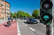 Eine Fahrradampel an einem Radüberweg in der Grindelallee in Hamburg