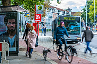 Menschen rennen an einer Bushaltestelle in Hamburg zum Bus - eine Radfahrerin kreuzt dabei ihren Weg