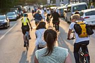Zahlreiche Fahrradfahrer fahren auf einer Fahrbahn in Hamburg