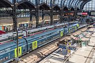 Blick in die Halle des Hamburger Hauptbahnhofs mit einem Regionalzug und einem ICE