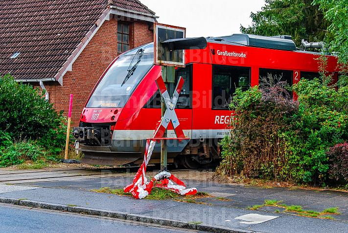 Sonderzug auf einer stillgelegten Bahnstrecke in Rendsburg in Schleswig-Holstein mit provisorischem Bahnsteig