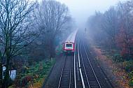 S-Bahn bei Hamburg-Stellingen im Nebel