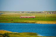Lemvigbanen-Triebwagen bei Strande