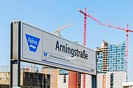 Stationsschild am Anleger Arningstraße in Hamburg