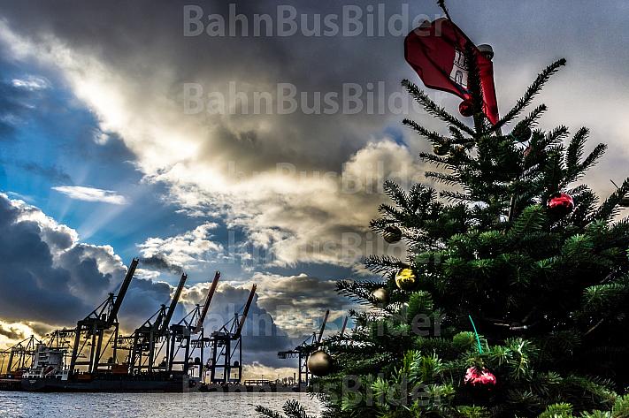 Ein geschmückter Weihnachtsbaum auf Hamburger Hafenfähre