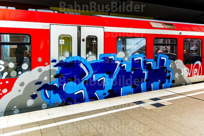 Graffiti an einer S-Bahn in Hamburg