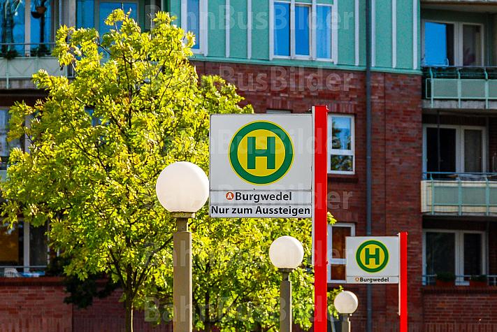 Haltestellenschild der Bushaltestelle Burgwedel in Hamburg