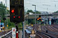 Rote Signale am S-Bahnhof Eidelstedt in Hamburg