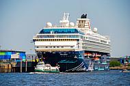 Hafenfähre Kirchdorf - das historische Typschiff der Hadag vor einem Kreuzfahrtschiff in Hamburg