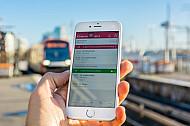 Die HVV-App zeigt Bahn-ÖPNV-Verbindungen in Hamburg an