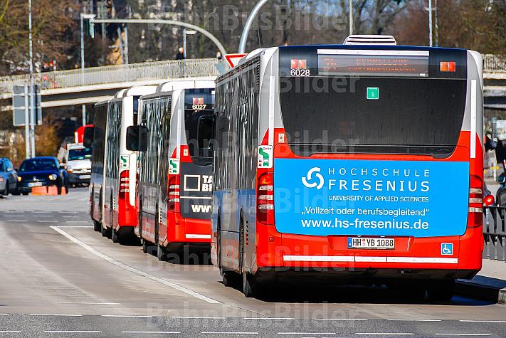Pulkbildung: mehrere Busse stehen in der Haltestelle Stephansplatz in Hamburg