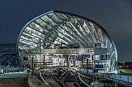 Der U-Bahnhof Elbbrücken in der HafenCity in Hamburg  kurz vor seiner Fertigstellung