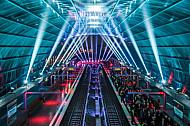 Eröffnung des U-Bahnhofs Elbbrücken in Hamburg mit einer Lightshow am 6.12.2018.